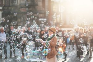 Crowd with bubbles